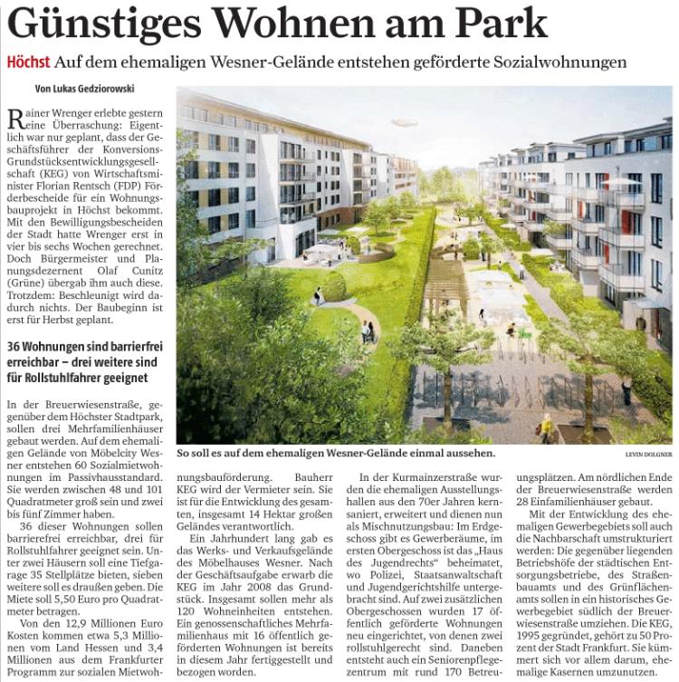 Berichterstattung zur Wohnungsförderung in Höchst (FR 02.08.12)